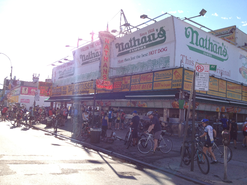 Nathans full of cyclists