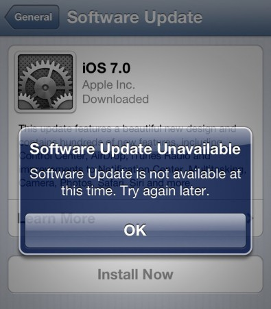 Software Update Unavailable